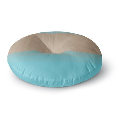 Brittany Guarino Art Wood Round Floor Pillow Size: 23 x 23, Color: Blue