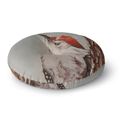 Brittany Guarino Downy Woodpecker Round Floor Pillow Size: 23 x 23