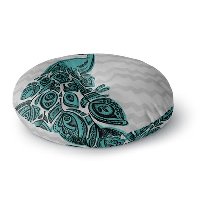 Brienne Jepkema Peacock Round Floor Pillow Size: 23 x 23, Color: Green/Gray