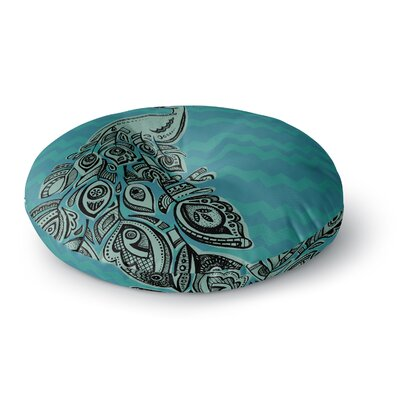 Brienne Jepkema Peacock Round Floor Pillow Size: 26 x 26, Color: Blue/Gray