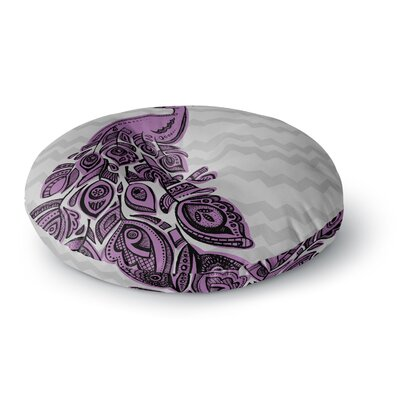 Brienne Jepkema Peacock Round Floor Pillow Size: 23 x 23, Color: Purple