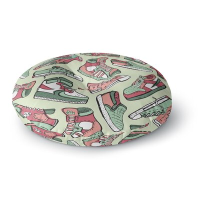Brienne Jepkema Sneaker Lover IV Round Floor Pillow Size: 26 x 26, Color: Green/Red