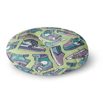 Brienne Jepkema Sneaker Lover IV Round Floor Pillow Size: 23 x 23, Color: Green/Purple