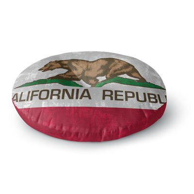 Bruce Stanfield California Flag Round Floor Pillow Size: 26 x 26, Color: Gray/Red