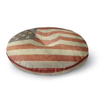 Bruce Stanfield Flag of US Retro Rustic Round Floor Pillow Size: 26 x 26