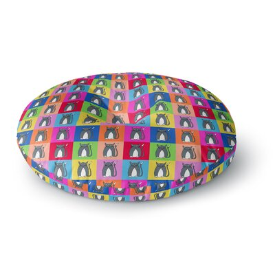 Bruce Stanfield Pussy Cat I Love You Rainbow Round Floor Pillow Size: 23 x 23