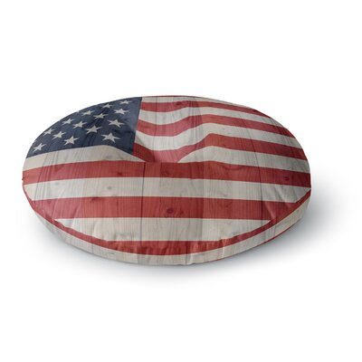 Bruce Stanfield USA Flag on Spruce Round Floor Pillow Size: 26 x 26