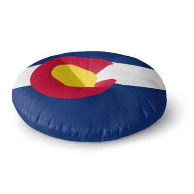 Bruce Stanfield Flag of Colorado Round Floor Pillow Size: 26 x 26, Color: Blue/Red