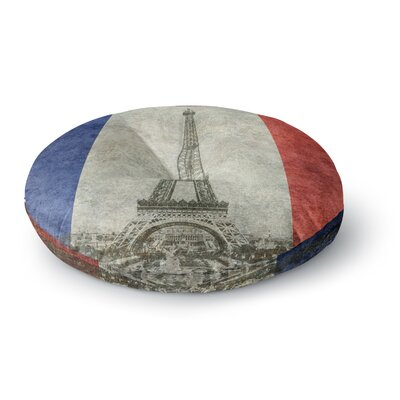 Bruce Stanfield Vintage Paris Mixed Media Travel Round Floor Pillow Size: 23 x 23