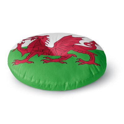 Bruce Stanfield Flag of Wales - Authentic Fantasy Illustration Round Floor Pillow Size: 26 x 26
