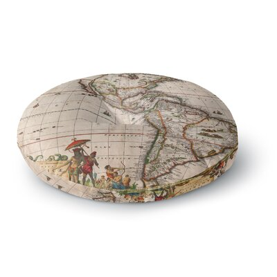 Bruce Stanfield Vintage Map of The Americas Brown Round Floor Pillow Size: 26 x 26