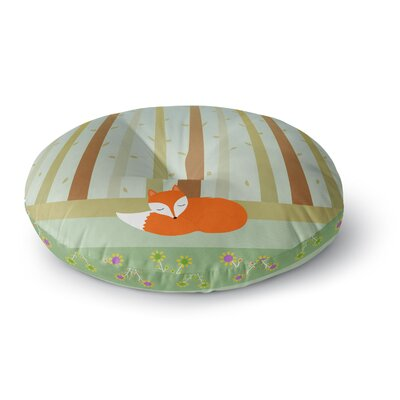 Cristina Bianco Design Sleeping Fox Illustration Round Floor Pillow Size: 26 x 26