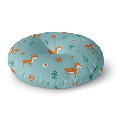 Cristina Bianco Design Cute Deer Pattern Kids Round Floor Pillow Size: 23 x 23