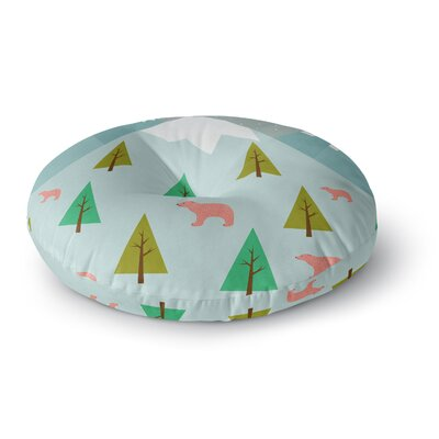 Cristina Bianco Design Bears Illustration Nature Round Floor Pillow Size: 26 x 26