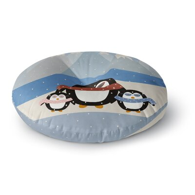 Cristina Bianco Design Cute Penguins Illustration Round Floor Pillow Size: 23 x 23