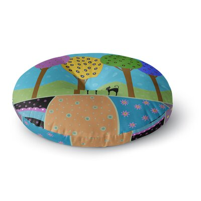 Cristina Bianco Design Cats and Colorful Landscape Illustration Round Floor Pillow Size: 23 x 23