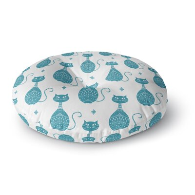 Cristina Bianco Design Cats Pattern Round Floor Pillow Size: 23 x 23, Color: Blue