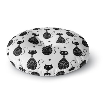 Cristina Bianco Design Cats Pattern Round Floor Pillow Size: 26 x 26, Color: Black