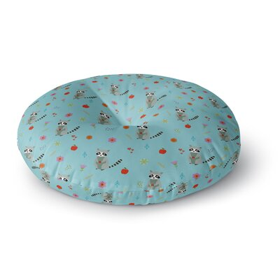 Cristina Bianco Design Cute Raccoon Pattern Illustration Round Floor Pillow Size: 26 x 26