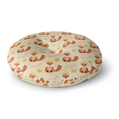 Cristina Bianco Design Fox New Friends Pattern Illustration Round Floor Pillow Size: 26 x 26