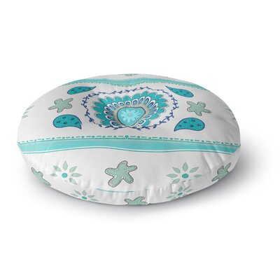 Cristina Bianco Design Mandala Painting Round Floor Pillow Size: 26 x 26, Color: Blue