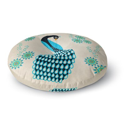Cristina Bianco Design Peacock Illustration Round Floor Pillow Size: 26 x 26