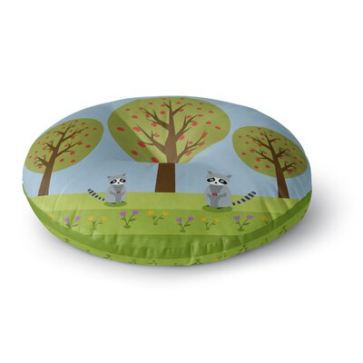 Cristina Bianco Design Cute Raccoons and Apple Trees Illustration Round Floor Pillow Size: 23 x 23