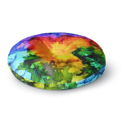 Claire Day Karma Rainbow Paint Round Floor Pillow Size: 26 x 26
