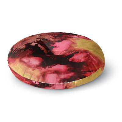 Claire Day Eloquent Maroon Abstract Painting Round Floor Pillow Size: 26 x 26