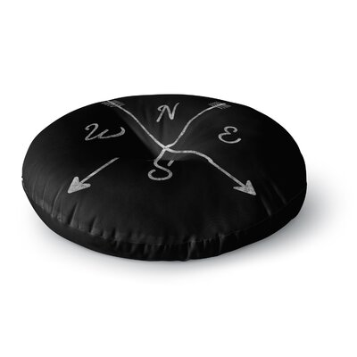 Draper Cardinal Direction B Vintage Round Floor Pillow Size: 23 x 23, Color: Black