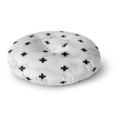Draper Marble Swiss Cross Digital Round Floor Pillow Size: 23 x 23, Color: White/Black