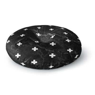 Draper Marble Swiss Cross Digital Round Floor Pillow Size: 26 x 26, Color: Black/White
