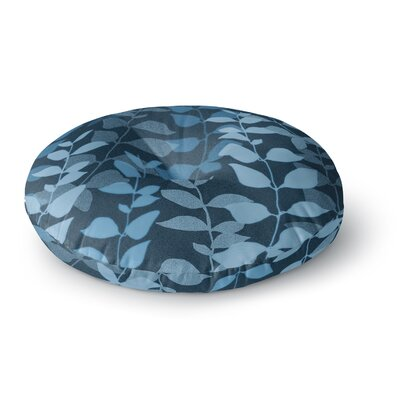 Carolyn Greifeld Leaves of Fantasy 2 Round Floor Pillow Size: 26 x 26, Color: Navy