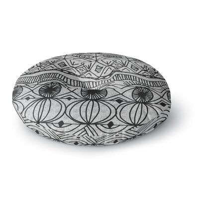 Catherine Holcombe Cranberry and Cream Pattern Round Floor Pillow Size: 26 x 26, Color: Black
