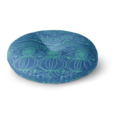 Catherine Holcombe Cranberry and Cream Pattern Round Floor Pillow Size: 23 x 23, Color: Blue