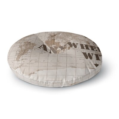 Catherine Holcombe Ill Go Anywhere with You Map Round Floor Pillow Size: 23 x 23