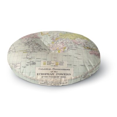 Catherine Holcombe Travel World Map Round Floor Pillow Size: 26 x 26