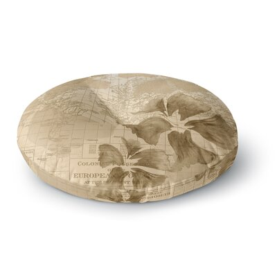 Catherine Holcombe Flower Power Map Round Floor Pillow Size: 23 x 23, Color: Beige