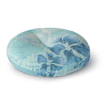 Catherine Holcombe Flower Power Map Round Floor Pillow Size: 23 x 23, Color: Mint