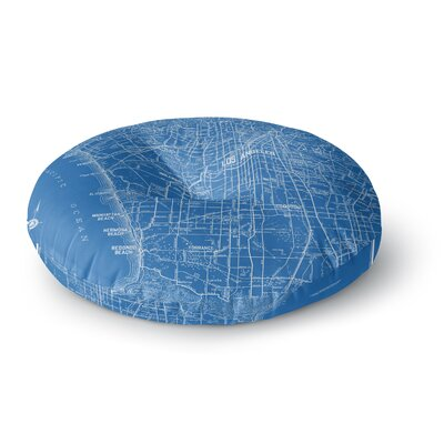 Catherine Holcombe Los Angeles Streets Map Round Floor Pillow Size: 23 x 23