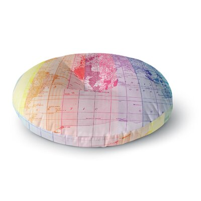 Catherine Holcombe Rainbow World Map Travel Round Floor Pillow Size: 23 x 23