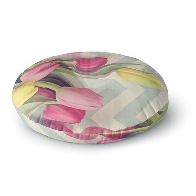Catherine McDonald Tulips and Chevrons Round Floor Pillow Size: 23 x 23