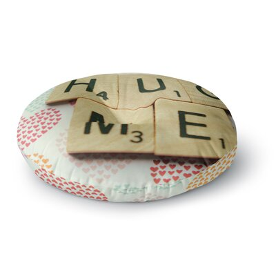 Cristina Mitchell Hug Me Heart Text Round Floor Pillow Size: 26 x 26