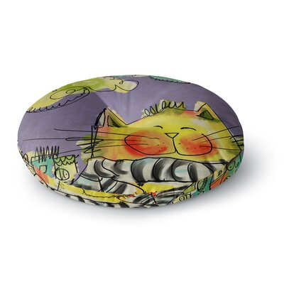 Carina Povarchik Urban Cat with Scarf Illustration Round Floor Pillow Size: 26 x 26