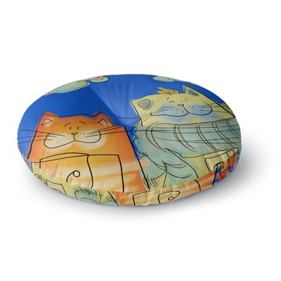 Carina Povarchik Happy Cats in the City Round Floor Pillow Size: 23 x 23
