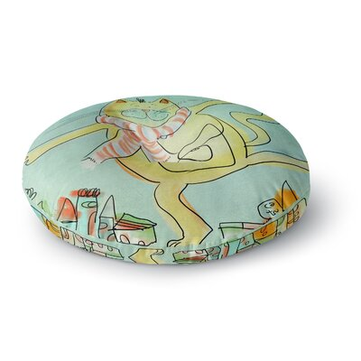 Carina Povarchik Dancing Cat in the City Round Floor Pillow Size: 23 x 23