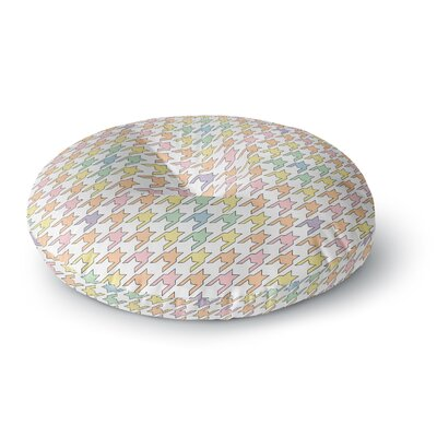 Empire Ruhl Houndstooth Round Floor Pillow Size: 26 x 26, Color: Pink/Yellow/Purple