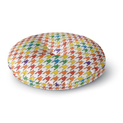 Empire Ruhl Houndstooth Round Floor Pillow Size: 26 x 26, Color: Red/Blue/Green