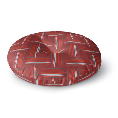 Empire Ruhl Crosshatch Digital Round Floor Pillow Size: 23 x 23, Color: Red