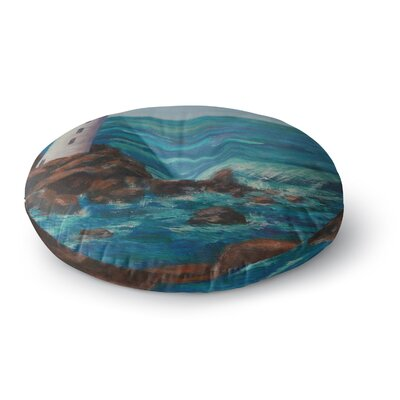Cyndi Steen the Lighthouse Rocks Painting Round Floor Pillow Size: 23 x 23